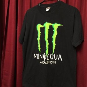T-Shirt-Black Minocqua Wisconsin with Monster